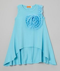 Look what I found on #zulily! Blue Rosette Hi-Low Dress - Girls by Dolce Liya #zulilyfinds