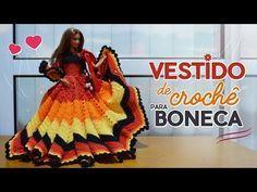 Crochet dress for dolls (portuguese/spanish) Spanish, Dolls, Youtube, Dresses, Gowns, Long Sleeve Blouses, Sleeveless Tops, Full Sleeves, Ganchillo