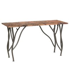 The Rustic Woodland Console Table features a rustic wrought iron base that looks like branches and is avalible in several custom iron finish and table top options/American made/dimensions can be specified