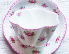 Pretty Pink Rosebud Shelley Dainty Teacup and Saucer - Edit Listing - Etsy