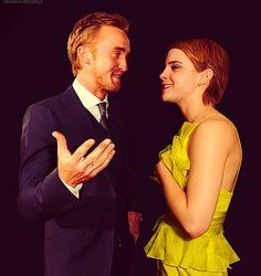 Tom Felton and Emma Watson.