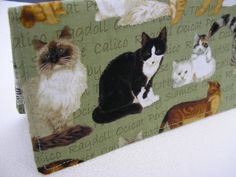 Checkbook Cover Coupon Holder  Cats on Green by Joanna1966 on Etsy, $8.00