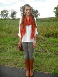 orange scarf, brown bag, boots, fall outfit