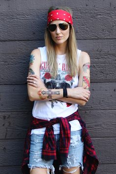Axl Rose costume: red bandana, aviators, tank top & tattoos
