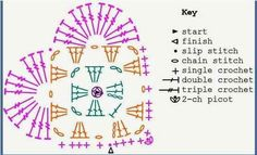 Wild Salt Spirit: Crochet Tea Party: Granny Heart for Valentine's Day Picot Crochet, Stitch Crochet, Crochet Diy, Crochet Stars, Crochet Motifs, Crochet Blocks, Crochet Diagram, Crochet Granny, Crochet Gifts