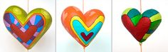 Corazones en Papel Maché by Choicita, via Flickr