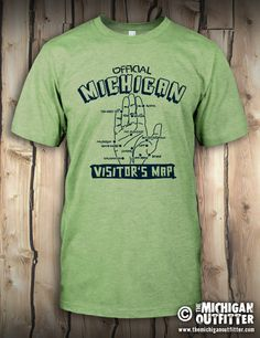 Visitor's Map - Mens T-Shirt - Heather Green – The Michigan Outfitter