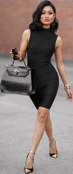 Black Dress With Gold Shoes Fashion Dresses