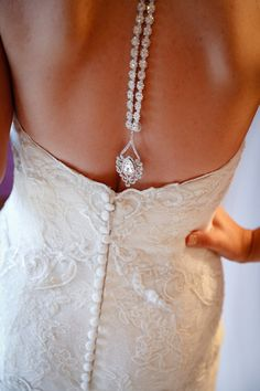 Back Drop Bridal Necklace Rhinestone Backdrop by kareninadesigns