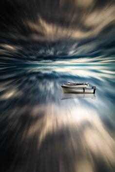 Three Boats Afloat by Gord Follett #reflection