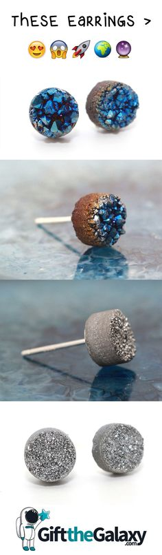 These Space Rock Stone Earrings are breathtaking! Talk about jewelry that's truly out of this world! Are there any sets of studs that are more unique? Beautiful science earrings for the space lover and universe geek in your life. Galactic apparel for galaxy lovers throughout the cosmos. They look like they're from an asteroid, meteor, comet or even another planet!  #earrings #spacegirl #galaxy #GiftTheGalaxy