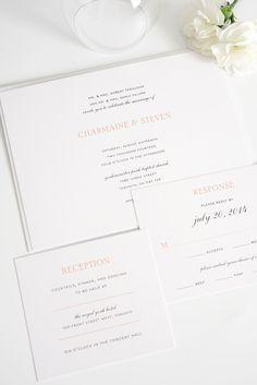 Elegant Peach Wedding Invitations   Shine Wedding Invitations