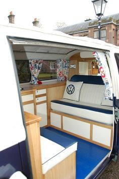 Bluebells our 1972 crossover bay interior poshpampacampa VW camper rentals.