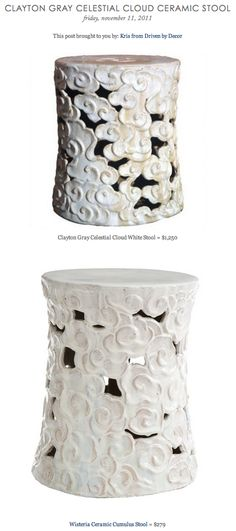 CLAYTON GRAY CELESTIAL CLOUD CERAMIC STOOL vs WISTERIA'S CERAMIC CUMULUS STOOL