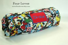 Boy Napmat with attached pillow and blanket by FourLoves on Etsy