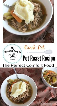Crock Pot Pot Roast Recipe - I'm not sure what says Comfort Food more than Pot Roast. This recipe gets even better because it's cooked in the /crockpot/. Let this Crock Pot Recipe fill up your families belly and take the leftovers to work the next day! I'