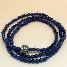 Versatile Three Wrap Blue Agate Bracelet/Necklace 50%off of 89.99 @nyhouseofstyle.com