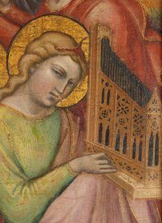 Spinello Aretino - Santa Maria Maddalena in possesso di un Crocifisso, dettaglio; (sul retro La Flagellazione) - c.1395-1400 - Tempera su tela, fondo oro - The Metropolitan Museum of Art, New York