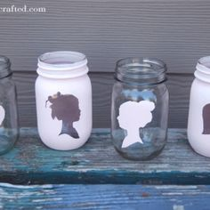 silhouette mason jars... pin does not lead to a tutorial... but I thought it would be cute to combine with idea with diy glass etching for personalized gifts