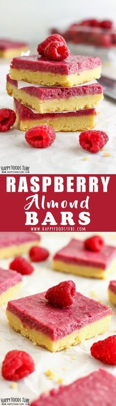 Raspberry Almond Bars are the perfect baking project for kids or beginner bakers. Melt-in-your-mouth crust and sweet raspberry almond filling are hard to resist. #desserts #baking #raspberry #almond #bars via @happyfoodstube