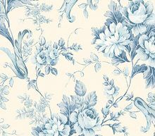 Blue on Cream Cabbage Rose Trail Wallpaper