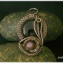 """Copper wire wrapped pendant with onix and jade bead  Height - 1 1/4""""  Length . 1"""""""
