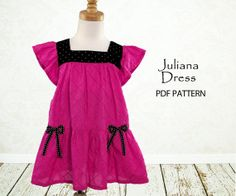 My childhood treasures pattern. I like the bows and the square neckline Toddler Sewing Patterns, Kids Patterns, Sewing For Kids, Baby Sewing, Sewing Clothes, Dress Sewing, Girls Dresses, Summer Dresses, Clothing Patterns