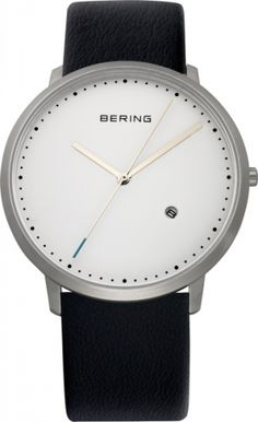 Bering Time - Classic - Men'S Black Leather Watch With White Dial Balenciaga, Watches For Men Unique, Black Leather Watch, Plate, Unisex, Bracelet Watch, Men's Watches, Porsche 944, Japanese Ceramics