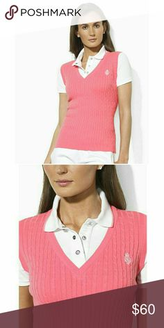 """New! RALPH LAUREN Crested Logo Cable Knit Polo Top The epitome of sporty heritage, the Luisha from Lauren Ralph Lauren combines a comfortable mesh polo shirt with a cable-knit combed cotton vest for a chic, athletic look.   Color: Hot Pink Brand New With Tags Embroidered """"LRL"""" crown crest accents the left chest 3-snap placket with """"L-RL""""-embossed snaps Ribbed polo collar with contrast tipping and short mesh sleeves with ribbed cuffs. Inset cable-knit vest with a ribbed V-neckline, armholes…"""