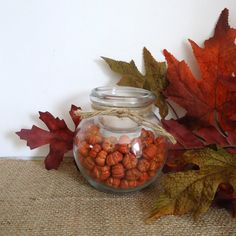 Rustic Fall decor glass votive candle holder with tiny pumpkins by masonjardecor