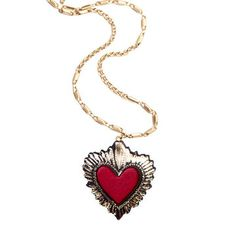 Heart Necklace Red Small, $48, now featured on Fab.