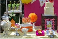 Decorated dessert table at a tropical party! See more party ideas at CatchMyParty.com!