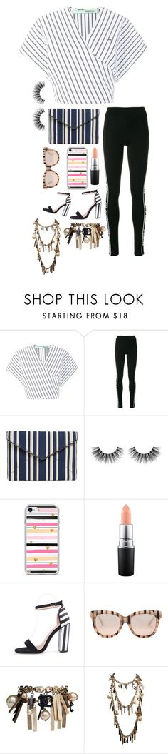"""Strips"" by heidibartholdy on Polyvore featuring Off-White, Philipp Plein, Rebecca Minkoff, Velour Lashes, MAC Cosmetics, WithChic, Gucci and Chanel"