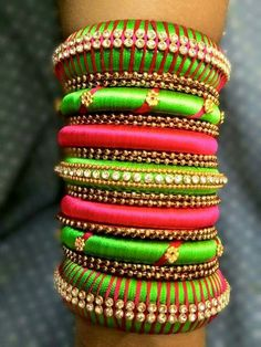 Green and Pink Silk Thread Bangles Silk Thread Bangles Design, Silk Bangles, Thread Jewellery, Silver Bracelets, Diamond Necklaces, Weird Jewelry, Indian Fabric, Bangle Set, Indian Jewelry