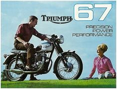 By 1967 Triumph were enjoying great success with the bike, especially in the US, here is a brochure for the years US models. The Bonneville. Classic Triumph Motorcycles, Triumph Bikes, British Motorcycles, Motorcycle Manufacturers, Motorcycle Posters, Triumph Bonneville, Classic Bikes, Vintage Bikes, Custom Bikes