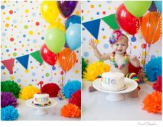 Studio Set-Up: paper bunting flags, poms, balloons, cake Sarah Nicole Photography