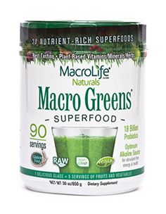 Macro Greens Superfood  18 Billion NonDairy Probiotic Cultures  Raw Green Superfood  Certified Organic Barley Grass Powder  5 Servings Of Fruits  Vegetables  Americas Best Tasting Greens  Non GMO  Vegan  Gluten  Dairy Free  90 Servings  30 oz 850 g -- Want to know more, visit