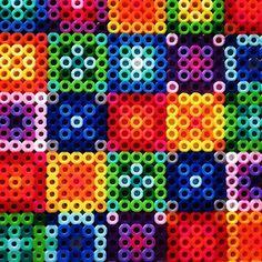 Rainbow quilt design perler beads by meganrhobydale
