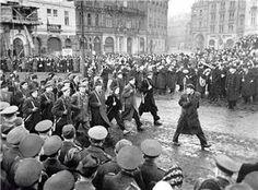 Communist Militia march in Prague, 1948.