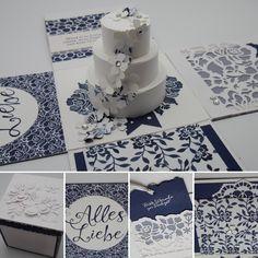 """Explosionsbox zur Hochzeit - ganz in blau-weiß mit der Produktreihe """"florale Grüße"""""""