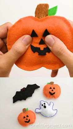 These no-sew Halloween plushies are SO CUTE and they're so simple to make. This is such an easy Halloween craft and a super fun craft for kids. No sewing skills required! Grab the free printable template and make your own ghost, pumpkin and bat plushies.