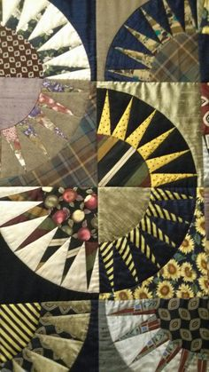 Quilt made out of men's ties - wow!  I'm a sucker for New York Beauties, and this is a stunner.