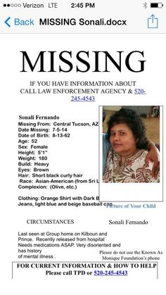 UPDATE - As of 7/21/2014, Sonali's poster has been removed from the original missing site. No other info found by searching. (TY Jackie)