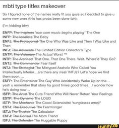 MBTI Type Titles Makeover