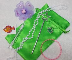 Mermaid Green Favor Bags (Filled) - Purple Flower Clip by TeatotsPartyPlanning on Etsy