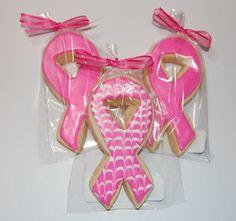 Pink Ribbon Breast Cancer Awareness Sugar Cookies