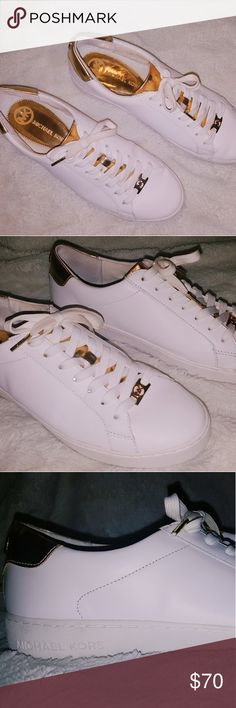 Michael Kors Shoes Irving Lace Up shoes by Michael Kors - size 9.5 - leather and gold - Worn less than 10 times, has a very minor scrape at the front Michael Kors Shoes Sneakers