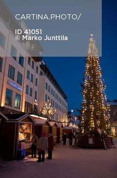 Blue Moment (41051). a christmas tree, blue, blue for a moment, christmas, lamp, lapland, light, market, multi-storey buildings, pedestrian street