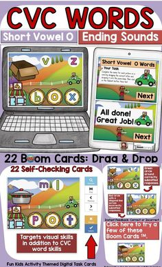 The kids-activity-themed digital Boom Cards will reinforce students' understanding and spelling of final consonants (ending sounds) of CVC Short Vowel O words. Phonemic Awareness Activities, O Words, Social Studies Resources, Teaching Phonics, English Reading, Short Vowels, Australian Curriculum, Letter T, Fun Activities For Kids