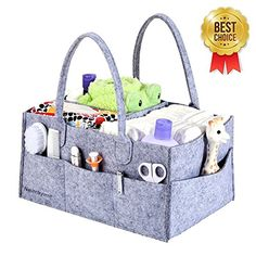 Baby Diaper Caddy - Nursery Storage Bin and Portable Car Organizer Basket for Diapers, Baby Wipes, Kid Toys (Grey). For price & product info go to: https://all4babies.co.business/baby-diaper-caddy-nursery-storage-bin-and-portable-car-organizer-basket-for-diapers-baby-wipes-kid-toys-grey/